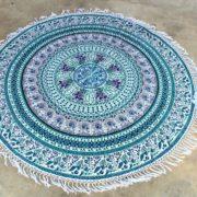 Tapete de Mandala Azul con Flecos