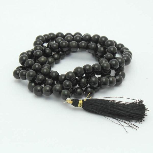 Rosario budista de obsidiana negra japa mala cancun